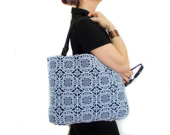 Lace Tote Bag, Genuine Leather Handle, Blue Black Lace Bag, Free Shipping, Shoulder Hobo Bag, Felt Bag, Pocket bag, Designer bag