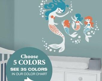Mermaid Wall Decals - Mural for Mermaid Nursery to match Mermaid Bedding