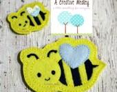 Jumbo Bumble Bee felt feltie Embroidery design - instant download