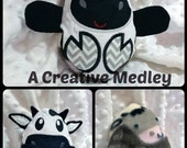 Peekaboo Cow  In the Hoop Stuffed Softie - Reversible folds into an egg, ITH, IN The Hoop, Embroidery Design, Instant download
