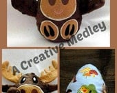 Peekaboo Moose In the Hoop Stuffed Softie - Reversible folds into an egg, ITH, IN The Hoop, Embroidery Design, Instant download