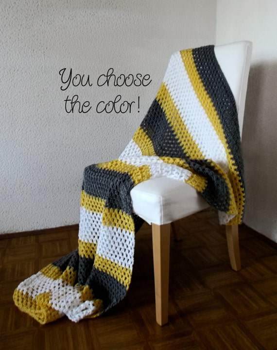 Personalized Striped Throw Blanket Afghan - White, Grey and Yellow Granny Stripe - Made To Order