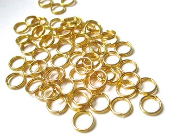 6mm Gold Tone Split Rings, Brass Split Jump Rings, Small Metal Jump Rings, Jewelry Making Supplies, DIY Crafts  60 Pieces SP405