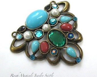 Large Antique Brass Filigree Pendant Turquoise Red Faux Gemtones Green Aqua Blue
