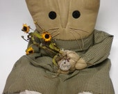 Cat Doll, Primitive Doll, Soft Sculpture Cat, Country Farmhouse Decor