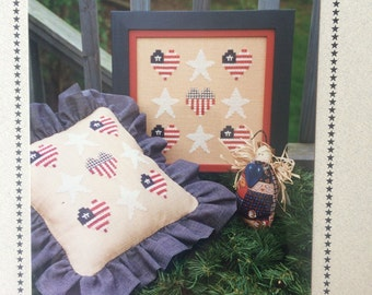 Stars and Stripes Counted Cross Stitch Pattern Chart, Patriotic Home Decor, by Sekas & Co