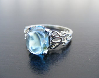 15% Off Sale.S310 Made to Order.... New Sterling Silver Modern Filigree Ring with 4 Carat Natural Blue Topaz Cabochon Gemstone