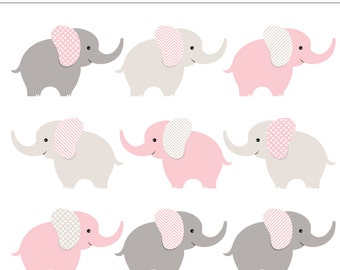 Pink and Gray Baby Elephants Digital Clipart - 9 Pieces for Personal & Commercial Use - Baby Shower, Baby Girl, Baby Animal INSTANT DOWNLOAD