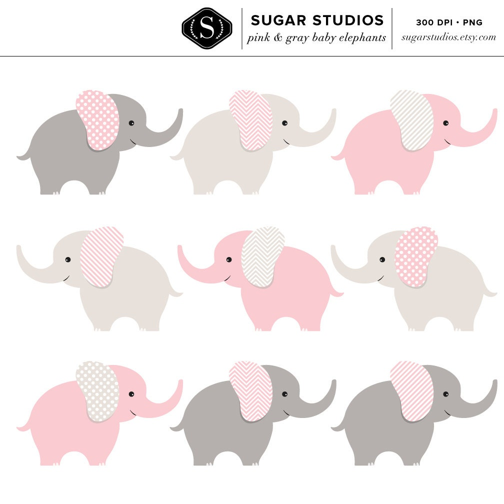 Pink And Gray Elephant Baby Shower Decorations: Pink And Gray Baby Elephants Digital Clipart 9 Pieces For