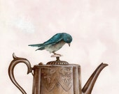 Teapot and a Blue Bird, Art Print, Watercolor Art, Wall Art, Bedroom Decor, Girls Bedroom Art, Whimsical Art, Home Decor, Girls Gift