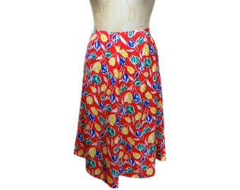 vintage 1980s floral skirt / polyester / rainbow colors / tulips flowers / a-line skirt / spring summer / women's vintage skirt / size large