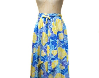 vintage LILLY PULITZER maxi skirt / floral Hawaiian / cotton / long skirt / belted skirt / women's vintage skirt / size 6