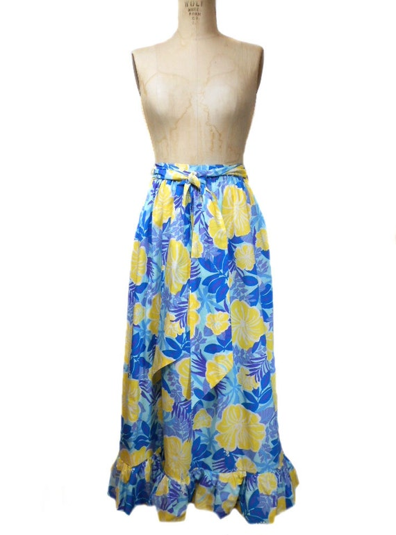 vintage lilly pulitzer maxi skirt floral hawaiian cotton