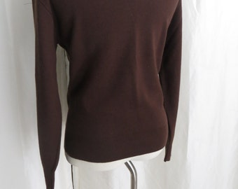 Vintage mens sweater pullover long sleeve v neck chocolate brown Puritan 70s 80s size M L