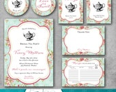 Bridal Shower 6 piece Suite - Bridal Tea Party - Vintage - Shabby Chic - Tea Party Package - Tea Party Invitation - DIY Printable - Digital