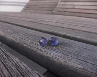 Rose Cut Iolite 6mm Studs with Sterling Serrated Bezel