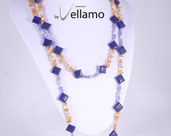 Spring colors statement necklace, two strands, handmade with lapis lazuli, citrine, tanzanite, Swarovski spacers, yellow, purple, denim blue