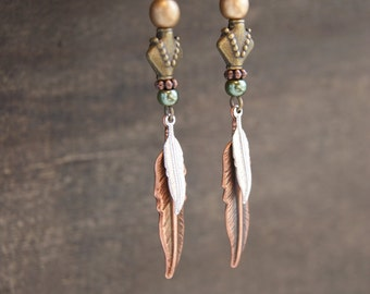 Tribal Feather Earrings Native American Earrings Boho Feather Jewerly Bohemian Feather Earrings Gypsy Jewelry Metal Statement Earrings Boho