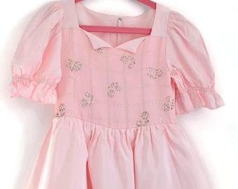 Girls Party Dress, Flower Girl Dress, Girls Vintage Dress, Special Occasion Dress, Pink Party Dress