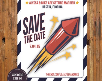 Fourth of July Wedding Save the Date - Sparks will Fly Save the Date - 4th of July Wedding Save the Date - Item 0233