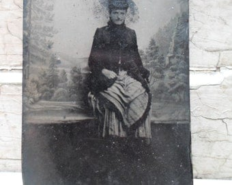 Tintype Photo, Victorian, Tin Photograph, 1800s, Edwardian, Fashion, Photography, Bustle, Victorian Fashion, Civil War