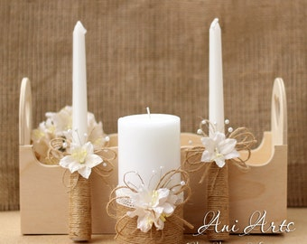 rustic wedding unity candles burlap and lace unity candle set rustic unity candle rustic wedding decor