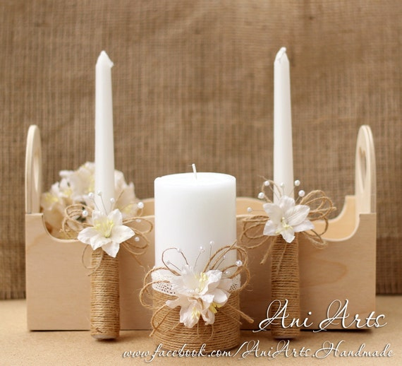 rustic wedding unity candles burlap and lace unity candle set. Black Bedroom Furniture Sets. Home Design Ideas