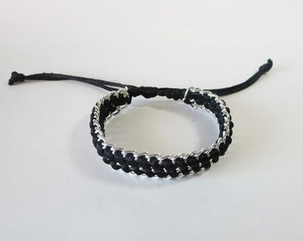 Woven Chain Bracelet, Black and Silver Bracelet, Adjustable Bracelet