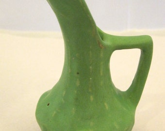 Vintage Matte Green Pottery Pitcher w Raised N Mark on Bottom SHP