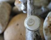 Reiki Attuned Shiva Eye Shell Silver Ring Size 5