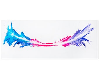 Colorful Abstract Art 'Energy' 48x19in. Metal Print, Rainbow Color Splash - Contemporary Abstract Painting - Turquoise, Pink, Violet Artwork