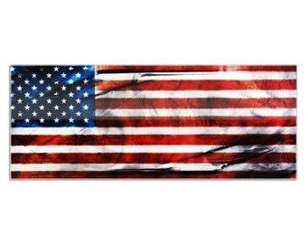 Plexiglas Giclee US Flag Art 'American Glory' Patriotic Artwork Modern American Flag Wall Art, Red White Blue Contemporary Acrylic USA Decor