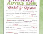 Marriage Advice Mad Libs [Wedding Guest Book Alternative] - Rehearsal Dinner Game / Bridal Shower Printable