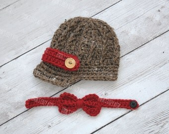 Crochet newsboy hat, baby newsboy hat, newborn photo prop, newsboy outfit, baby boy clothes, brim hat, crochet bow tie, newsboy set