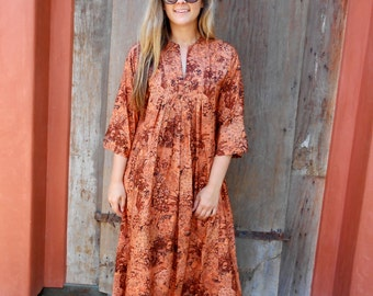 Vintage Coachella Hand Made Copper Color Silk Kaftan, Ethnic Hippie Tunic Dress, Long Sleeve Floor Length Festival Tribal
