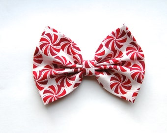 SALE - Rosalyn Hair Bow - Peppermint Candy Hair Bow with Clip