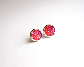 Hot Pink Faux Druzy Glitter Earrings - Posts/Studs 10mm MEDIUM (D115)