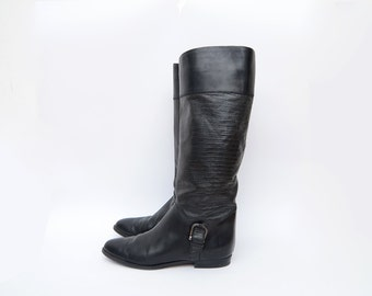 Vintage italian black leather women riding boots