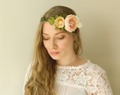 Peach Blush Ranunculus 'Adeline' Flower Crown - Boho Chic Wedding Bridal - READY TO SHIP