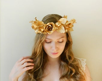 Golden Goddess Headpiece - Rustic Faerie Hair Crown - Wreath of Gold