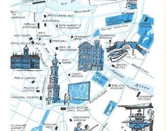 Amsterdam Map Illustration / Map of Amsterdam NL / Vintage Map Print / City of Amsterdam Netherlands Map / World Travel Decor / City Map Art