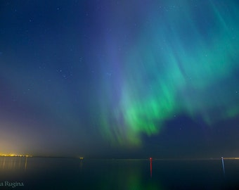 Northern lights decor, Aurora Borealis landscape, large photo print of northern lights, sea, starry sky, print to frame, Tallinn, Estonia
