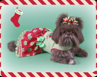 SAMPLE SALE:  Christmas Owls Dog Dress