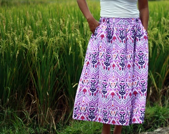 Purple Skirt / Mid Calf Skirt Ethnic Purple / Summer Skirts / Ikat Print Skirt / Pockets Skirt / Elastic Waist Skirt / Midi Skirt