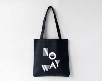 NO WAY Canvas Tote in Black and White