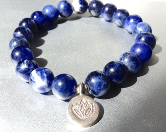 harmony. sodalite gemstone mala bracelet lotus fine silver. BLUE SKY