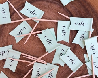 i do. printed mint paper cupcake toothpick flags. wedding cupcake flags. set of 24.