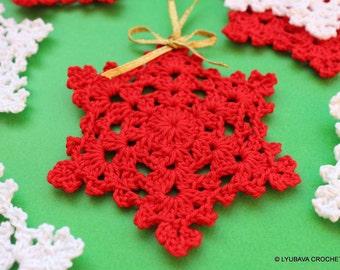 Crochet PATTERN-Snowflake Easy Pattern-Christmas Tree Ornament-Home Decor-Diy Crafts-Instant Download PDF Pattern No.8 by Lyubava Crochet
