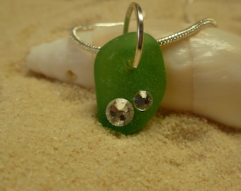 Drilled green sea glass necklace with swarovski crystal rhinetones and sterling silver chain