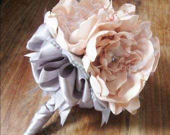 Champagne Grey Bridesmaid Bouquet, Wedding Bouquet, Pink Grey Bouquet, Flower Girl Bouquet, Mother Bouquet, Petite Bouquet